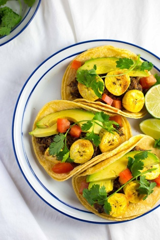 BLACK BEAN AND BAKED PLANTAIN TACOS WITH AVOCADO